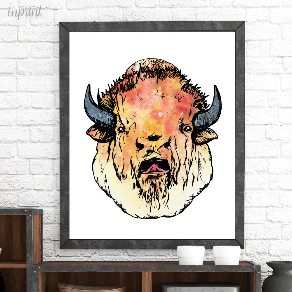 Bison Head Printable