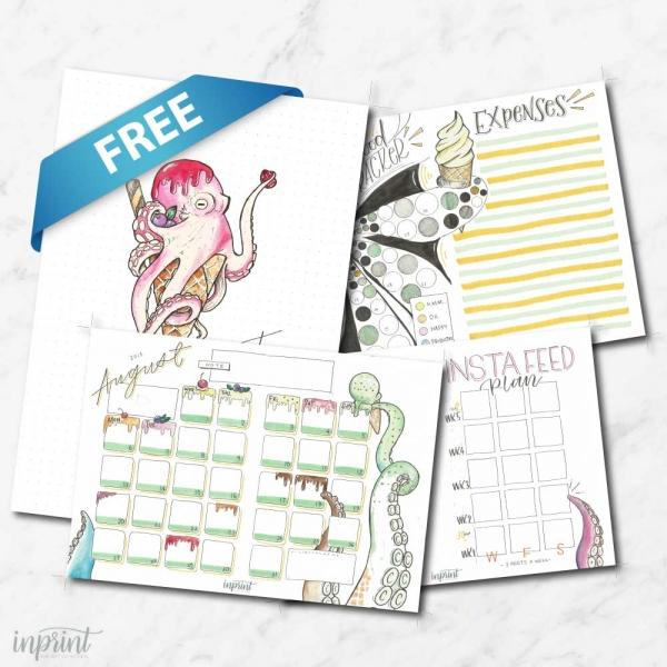 Free August Bullet Journal Printable