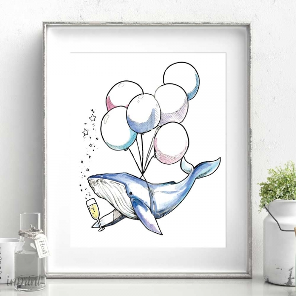 Floating Whale Printable