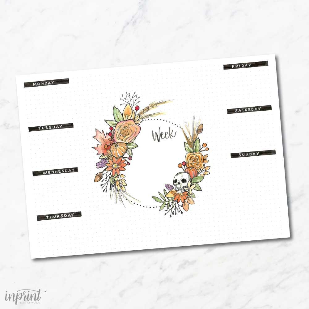 bullet journal weekly planner flower skull instant printable pdf