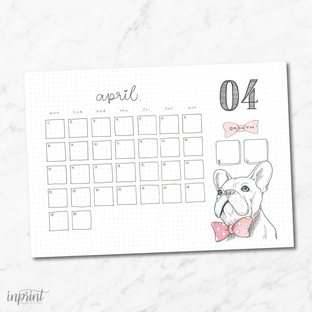 April Calendar Print